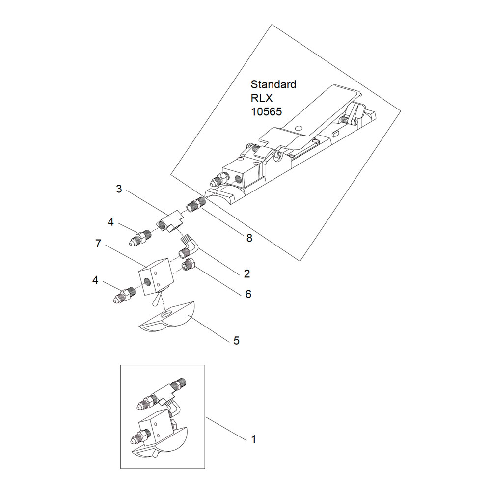 RLX Remote Control Handle Assembly, pneumatic